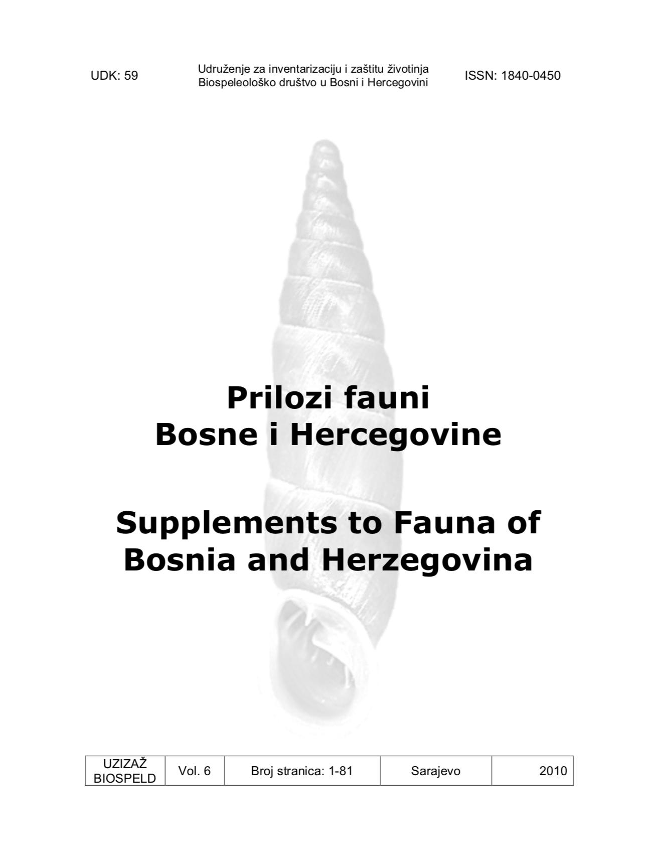 Prilozi fauni Bosne i Hercegovine Vol. 6